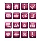 Фиолетовое лоснистого значка квадрата UI установленные и розовый 16 значков Изолировано на белизне иллюстрация штока