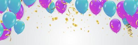 Фиолетовые и голубые ленты confetti и комплекта пук иллюстрации  Стоковая Фотография RF