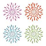 Фиолетовые, красные, зеленые, и голубые цветки Sunburst вектора акварели Иллюстрация маргаритки весны в ультрамодных цветах бесплатная иллюстрация