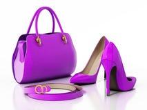 Фиолетовые сумка, ботинки и пояс изолированная на белой предпосылке иллюстрация 3d Стоковые Фото