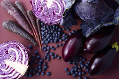 Фиолетовые фрукты и овощи стоковые фото
