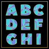 Фиолетовый дизайн шрифта мозаики эмали jewerly стилизованный Стоковая Фотография
