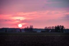 Фиолетовый заход солнца в литовской сельской местности Большое солнце идя вниз к лесу Стоковое Фото