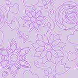 фиолет картины цветков безшовный Стоковое Изображение
