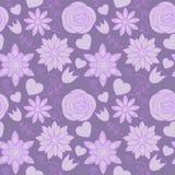 фиолет картины цветков безшовный Стоковые Фотографии RF