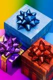 фиолет подарка голубых коробок красный Стоковое фото RF
