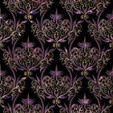 Фиолет свирли штофа цветет безшовная картина с точками иллюстрация вектора