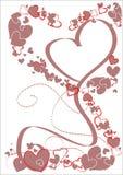 фиолет тесемок сердец рамки романтичный Стоковое фото RF