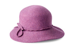 Фиолетовая женская фетровая шляпа изолированная на белизне Стоковая Фотография