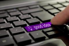 Фиолетовая идея еды кнопки Стоковое фото RF