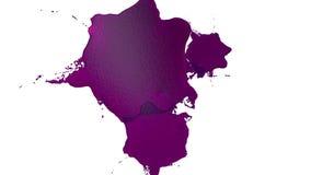 Фиолетовая капелька чернил падает на белую поверхность 3d представляют жидкость как сок с очень высокой маской детали и альфы для иллюстрация вектора