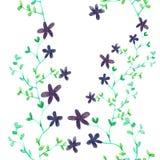 Фиолетовая картина акварели цветков и заводов безшовная Стоковое фото RF