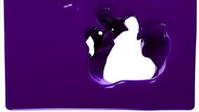 Фиолетовая краска заполняет вверх экран, изолированный на белом ПОЛНОМ HD с каналом альфы иллюстрация вектора