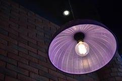 Фиолетовая потолочная лампа сделанная от пластичной крышки еды Стоковые Изображения RF