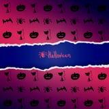Фиолетовая предпосылка с картиной характеров хеллоуина Стоковое Фото