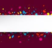 Фиолетовая предпосылка с красочным confetti Стоковая Фотография RF