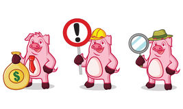 Фиолетовая свинья с деньгами Стоковое фото RF