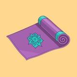 Фиолетовая циновка йоги вектора шаржа иллюстрация штока