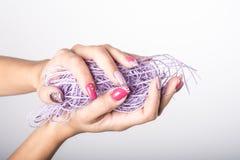 Фиолетовое искусство ногтя Стоковые Изображения RF