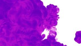 Фиолетовое падение чернил в воде на белой предпосылке для влияний 3d представляют графики voxel компьютерное моделирование 16 иллюстрация штока