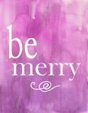 Фиолетовое фиолетовое рождество праздника акварели веселая карточка плаката Стоковые Фотографии RF