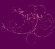 Фиолетовое флористическое с вектором листвы Стоковое Изображение RF