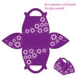 Фиолетовому шаблону коробки с ручкой, никакой клей иллюстрация вектора