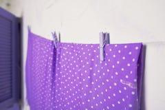 Фиолетовые зажимки для белья на веревочке Стоковые Фото