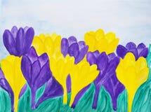 Фиолетовые и желтые крокусы Стоковые Фото