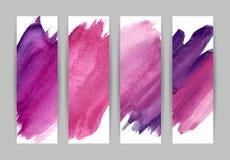Фиолетовые установленные знамена grunge Стоковое Изображение RF