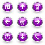 Фиолетовые установленные значки сети Стоковые Изображения RF