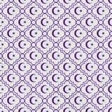 Фиолетовый и белый ба повторения картины звезды и плитки символа полумесяца Стоковая Фотография RF