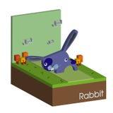 Фиолетовый кролик пасхи Вектор концепции зайчика пасхи Бесплатная Иллюстрация