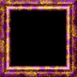 Фиолетовый металл, деревянная орнаментальная рамка с золотым выплеском Стоковое Фото