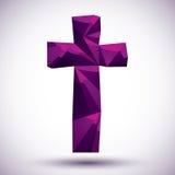 Фиолетовый перекрестный геометрический значок сделанный в современном стиле 3d, наиболее хорошо для нас Стоковое Изображение RF