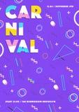 Фиолетовый плакат масленицы абстрактный Мемфис 80s, предпосылка стиля 90s ретро с местом для текста Стоковые Изображения RF