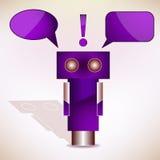 Фиолетовый робот с пузырями сообщения. Вектор Стоковое Изображение