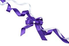 Фиолетовый смычок изолированный на белизне Стоковые Изображения RF