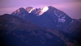 Фиолетовый швейцарский заход солнца Стоковая Фотография RF