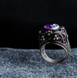Фиолетовый amethyst валик отрезал обручальное кольцо ювелирных изделий моды диаманта Стоковое Изображение RF
