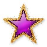 Фиолетовым покрашенная аметистом звезда драгоценной камня с золотой звёздочкой Borde Стоковое Фото