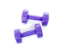 2 фиолетовых гантели Стоковая Фотография