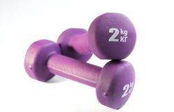 2 фиолетовых dumbells на белой предпосылке Стоковое фото RF