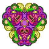 Фиолетов-зеленая мандала на белой предпосылке Стоковые Фотографии RF