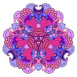 Фиолетов-розовая мандала на белой предпосылке Стоковое Изображение RF