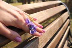 Фиолеты в ее руке Стоковые Изображения