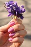 Фиолеты в ее руке Стоковое Изображение RF
