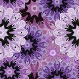 Фиолет покрасил безшовную картину с восточным флористическим орнаментом Флористический восточный дизайн в ацтеке, turkish, Пакист Стоковая Фотография