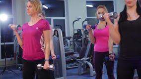 Фитнес группы в спортзале видеоматериал