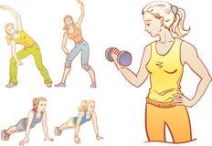 Фитнес: девушки тренируют Стоковая Фотография